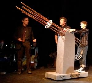 L. to R. Simon (Scott Klavan), Wilhelm Reich (Andrew J. Langton), and Peter Reich (Sammy Bravo).